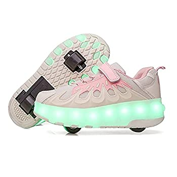 YUNICUS Girls Wheelies Roller Skate Sneakers with Wheels USB Charging Shoes with Wheels for Boys Roller Skating Sneakers Pink White Size 3