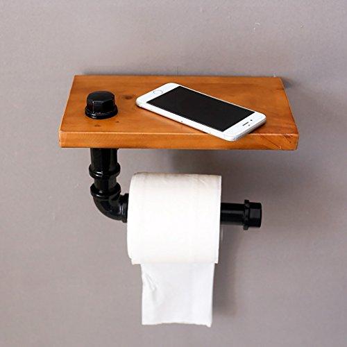 Retro ijzeren pijp houten plank papier handdoek plank badkamer muur plank toilet opslag plank