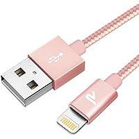 Rampow Cable iPhone Cable Lightning [Apple MFi Certificado]-Garantía de por Vida-Nylon Trenzado Lightning USB Compatible con iPhone XS MAX X 8 Plus 7 Plus 6S 6 Plus 5 5S 5C SE iPad - Oro Rosa 1M