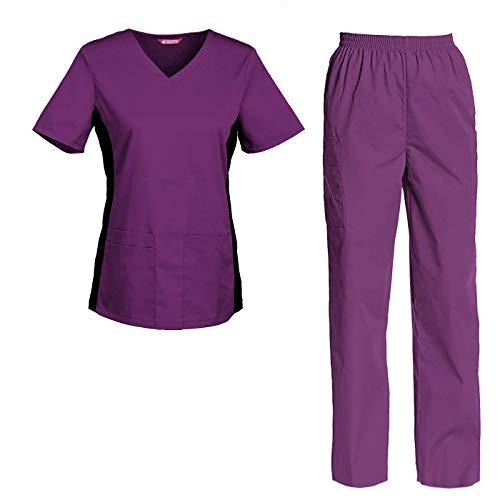 TAILOR'S Divisa Ospedaliera sanforizzato Pantaloni + Casacca Scollo a V Sanitaria Medicale per Medico Infermiere OSS Estetista