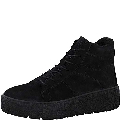 Tamaris Damen Stiefel, Frauen Schnürstiefel, Woman Freizeit leger Boots kurz-Stiefel high top Sneaker Sportschuhe schnürung,Black,40 EU / 6.5 UK