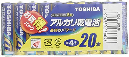 東芝 アルカリ乾電池 単4形1パック20本入り LR03L 20MP