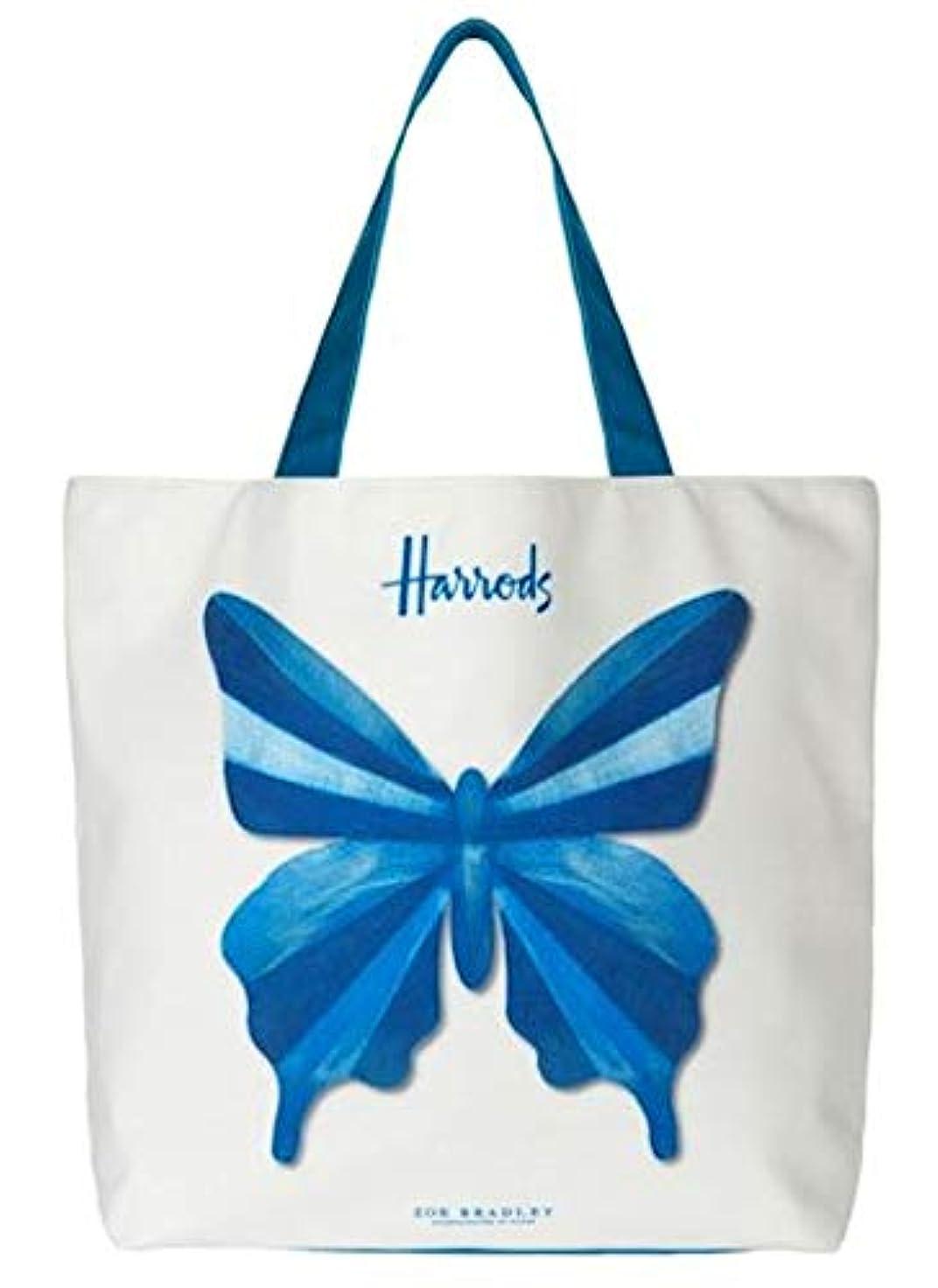 風が強い起業家フィード英国 Harrods [ハロッズ] x Zoe Bradley [ゾイ?ブラッドリー] コラボデザイン ブルー?バタフライ ラージサイズ キャンバス ショルダー ショッピングバッグ [並行輸入品]