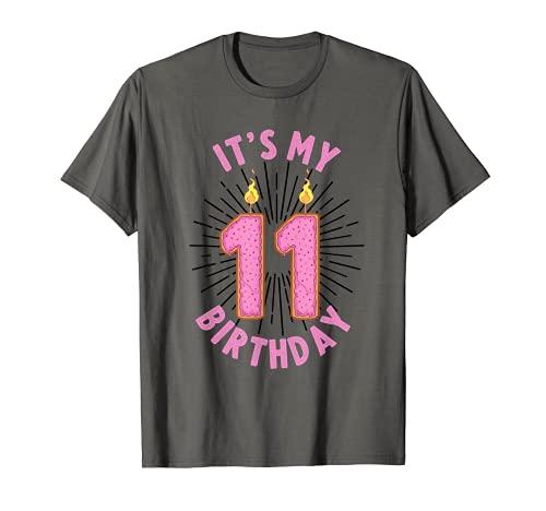 Regalo de 11 años para niñas de 11 cumpleaños, divertido aniversario de donut Camiseta