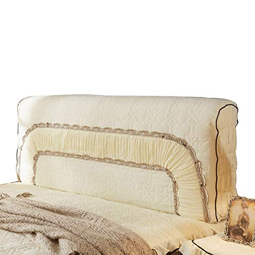 ZWDM Bed Head Protector Cover Washable Removable Solid Color Protective Cover Decor for Bedroom (Color : Beige, Size : 1.5-1.6x70x35cm)
