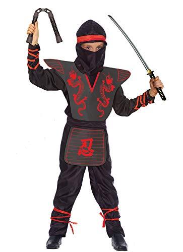 Ciao Ninja Fighter Costume Bambino, Nero/Rosso, 7-9 Anni