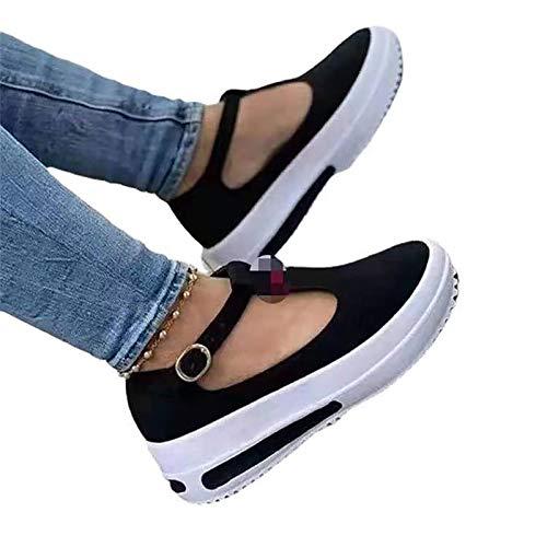 HSY SHOP Bequeme Sportstrick-Sandalen für Damen Dicke Sandalen mit tiefem Fischmund, superweiche Kissen-Sommersandalenschuhe (Color : Black, Size : EU:37/UK:4.5/US:6)