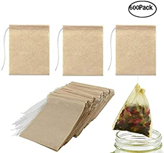 JM-capricorns 600 Pack Tea Filter Bags, Disposable Paper Tea Bag with Drawstring Safe Strong Penetration Unbleached Paper for Loose Leaf Tea,Coffeeand Herb(Natural Color, 2.75 x 1.97 Inches)