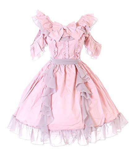 Kawaii-Story JL-698 Różowa falbanka Gothic Sweet Pastel Goth Szyfonowa Sukienka Cosplay (S-M)