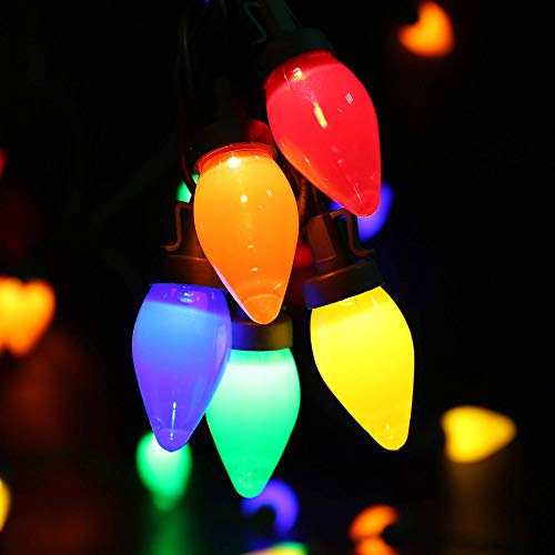 C7 Bulbs Christmas Lights - HAYATA 50 LED 24ft Strawberry String Light - Fairy Lighting for Outdoor, Indoor, Garden, Yard, Party, Home, Wreath, Garland, Christmas Tree Decorations (Multi Color)