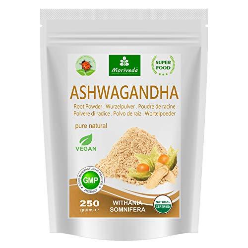MoriVeda® - Ashwagandha en poudre 250g (Qualité supérieure, 100% naturel) - Cerise d'hiver, Withania Somnifera, Ginseng indien – poudre de racine (1x250g)