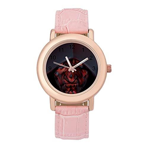 Star Mandalorian WarsLadies Reloj de cuarzo de cuero con correa 2266 espejo de cristal redondo rosa accesorios casuales moda temperamento 1.5 pulgadas