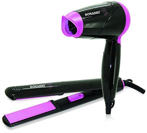Sonashi Hair Dryer & Hair Straightener Set – SBS-200, Black & Pink