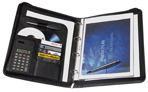 Genie 10742 Exclusive - Carpeta de anillas con calculadora integrada (tamaño A4, plástico con aspecto de piel, cierre de cremallera, incluye bloc de notas A4 y sujeción para el bolígrafo), col