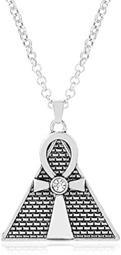 ZPPYMXGZ Co.,ltd Necklace Fashion Egyptian Pyramid Necklace Men Jewelry Triangle Cross Pendant Necklace Religious Style Accessories Collares Choker Chain