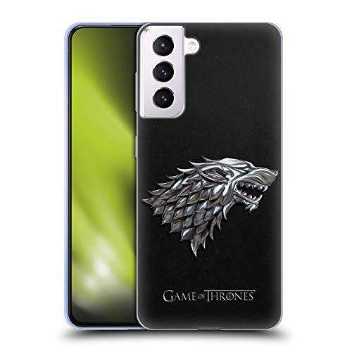 Head Case Designs Officially Licensed HBO Game of Thrones Silver Stark Sigils Soft Gel Case Compatible with Samsung Galaxy S21+ 5G