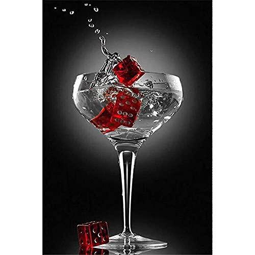 5D Kit de pintura de diamante para adultos, Copa de vino tinto Bricolaje Diamond Painting Completo Rhinestone Bordado Arte Punto de Cruz Craft Decoración del Hogar 60x90cm B-3877