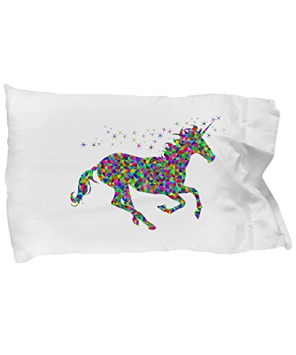 Tiny Giant T Shirts & Mugs Unicorn Pillowcase, Colorful Fun Pillow Case Bedding to Brighten Any Bedroom, Best for Teens, Kids & Adults Who Believe in Magic (Design 1, White)