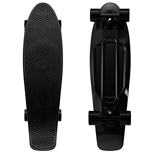 """KMX 27"""" Mini Cruiser Skateboard for Teens Adults and Kids Ages 6-12, Complete Nickel Board for Boys Girls Beginners Penny Board (Classic Black)"""