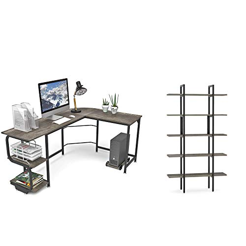 Lucky-Angel 4 Shelf Ladder Bookcase, Industrial Bookshelf Wood and Metal Bookshelves, Vintage Brown