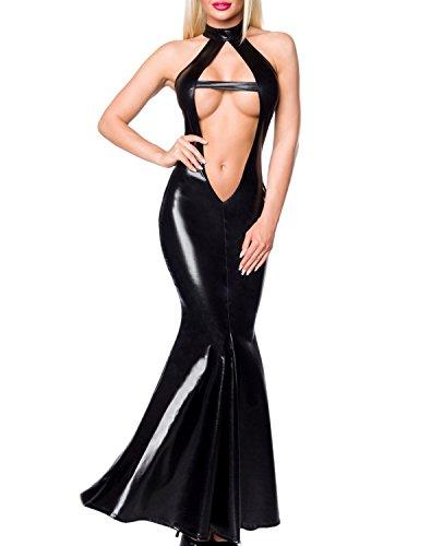 Figurbetontes Wetlook-Kleid in Meerjungfrau-Style S