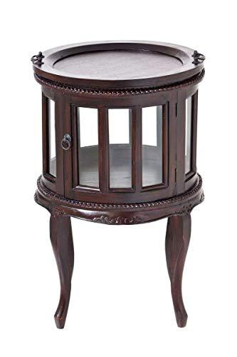 CLP Runder Teetisch aus Mahagoniholz mit verglasten Fronttüren I Runder Vitrinentisch im Kolonialsstil I erhältlich, Farbe:Dunkelbraun