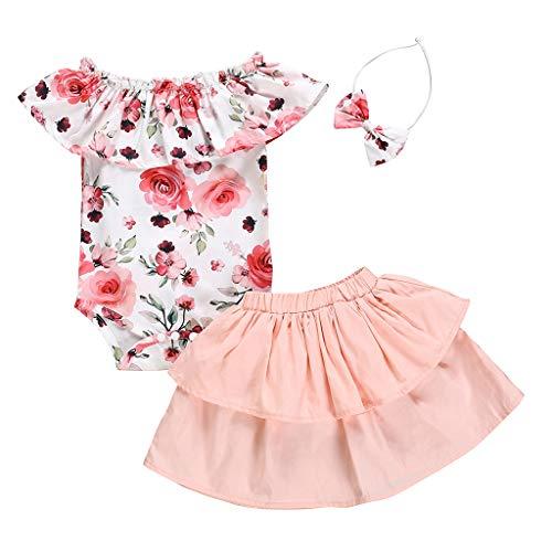 LEXUPE Mädchen Newborn 1. Geburtstag 3 Stück Outfits Strampler + Tutu Kleid + Stirnband (Weiß,90)