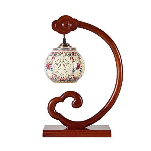 Lampe de table Bois Massif Antique Xiangyun sculptée Chambre Chevet en Bois Lampe, Ruyi Céramique Chinois Style Zen Lampe décorative LED Lampe 110V-240V (Couleur : B)