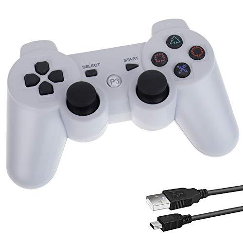 Diestord PS3 コントローラー Bluetooth ワイヤレス ゲームパッド USB ケーブル (White)