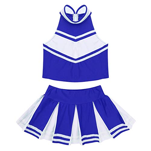 Yeahdor Girls' Patriotic Cheerleading Outfit Uniform Costume Carnival Party Christmas Cosplay Outfits 2pcs Blue 6