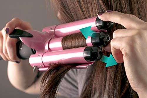 Alure Three Barrel Curling Iron Wand with LCD Temperature Display - 1 Inch Ceramic Tourmaline Triple Barrels, Dual Voltage Crimp (Pink)