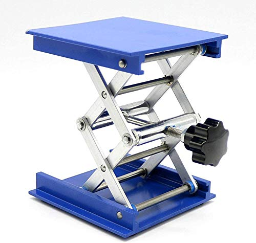 HeyWin Labor-Hubtisch, aus Aluminiumoxid, auch als Wagenheber für Fräsen, Laser, Schränke verwendet (blau (100 mm x 100 mm)