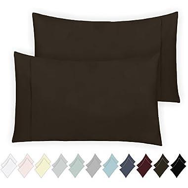 California Design Den 400 Thread Count 100% Cotton Pillowcase Set of 2, Long - Staple Combed Pure Natural Cotton Pillowcase, Soft & Silky Sateen Weave (Standard, Chocolate Brown)