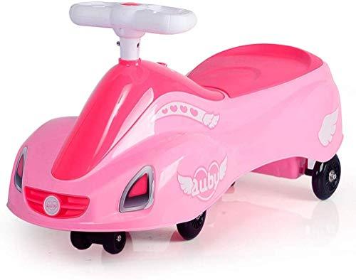 XIN Kinderwagen Kinderwagen Kinderwagen 'S Twist Car 3-5 Jahre alt mit Musikschaukel Auto 2 Jahre alt Baby Roller Kinderwagen Spielzeug Silent Slide Eltern-Kind-Interaktives Spielzeug,Rosa,74 * 37cm