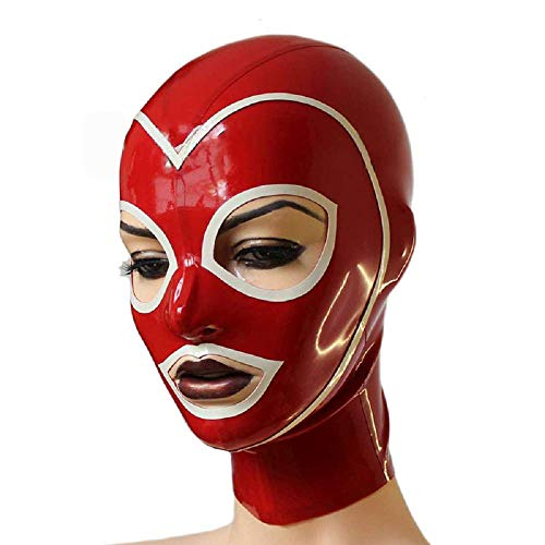 Latex Mask Rubber Hood Back Red Zipper Catsuit Party Wear Costumes Cosplay (M)