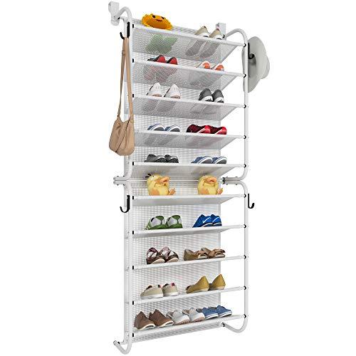 TZAMLI Zapatero sobre la puerta con 10 niveles, organizador de zapatos con ganchos de metal fuertes para Closet Pantry (X-blanco, 56 x 21 x 151 cm)
