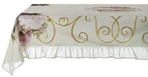 Blanc Mariclò Tovaglia con Gala Stile Shabby Chic Elegante Copritavolo 8 posti 150x280 cm