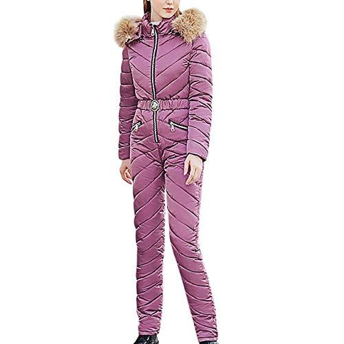 YRFDM Combinaison de Ski,Femmes Ski Suit Casual Warm Siamese Cotton Veste À Capuche Rembourrée Manteau Zipper Snowboard One Piece Jumpsuit Survêtement Survêtement, A, XL