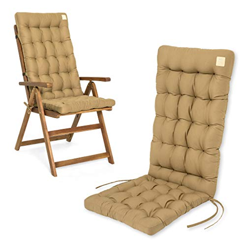 HAVE A SEAT Luxury | Gartenstuhlauflagen - Hochlehner Polster Auflage, waschbar bei 95°C, Trockner geeignet, Sitzauflage für Gartenstuhl (1 Stück - 120x48x8 cm, Beige)