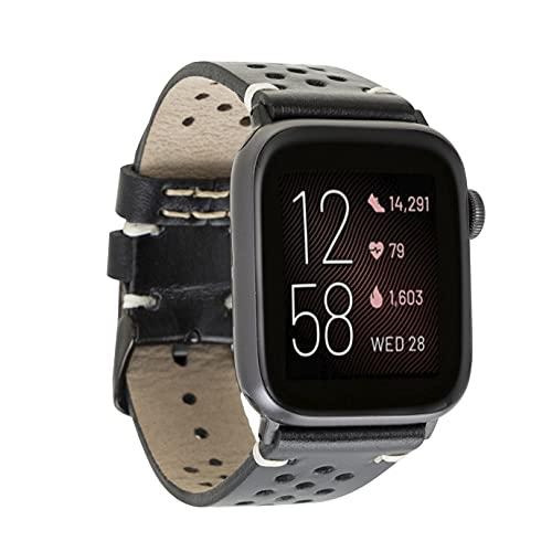 Correa de piel compatible con Apple Watch Serie SE, 6 y 5/4/3/2/1, pulsera de piel hecha a mano, 44 mm, 42 mm, 40 mm, 38 mm, para hombre y mujer, 42mm-44mm,