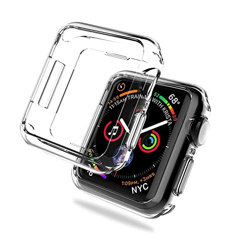 iVoler 2 Pezzi Cover per Apple Watch 42mm Series 3 / Series 2 Custodia, Case in Morbido Silicone di Gel AntiGraffio in TPU Ultra [Slim Thin] Protettiva - Trasparente