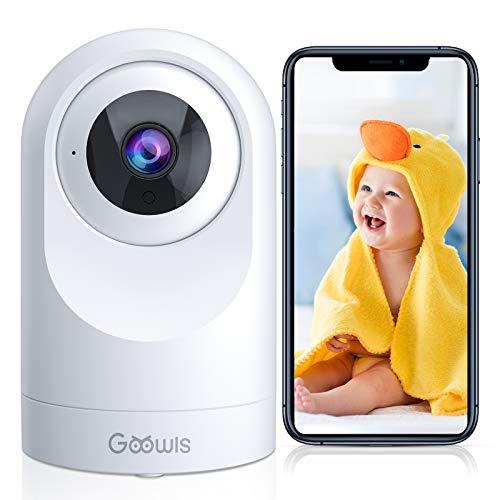 WLAN IP Kamera Goowls 1080P HD Überwachungskamera Innen 360°Schwenkbar Nachtsicht Bewegungserkennung Zwei-Wege-Audio Babyphone kompatibel mit IOS/Android/Alexa