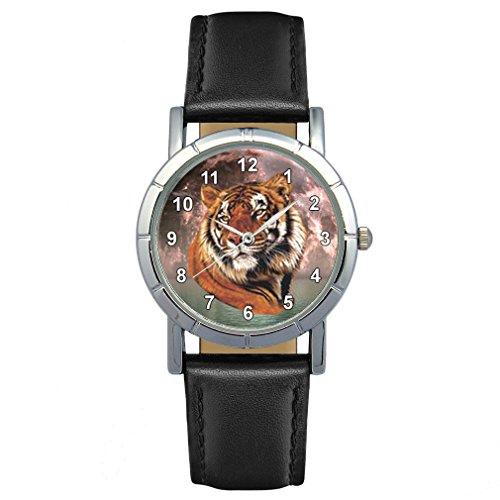 Timest - Tigre - Reloj para Mujer con Correa de Cuero Negro Analógico Cuarzo SA1807