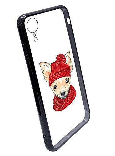 [Inkmodo] Clear TPU Case for iPhone XR - Hipster Smiling Chihuahua Hipster Funny Illustration Printed Unique Design Pattern Cover