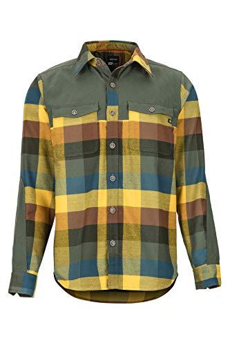 Marmot outdoorshirt met lange mouwen voor heren, met uv-bescherming, ademend, needle peak Mid Wt flannel Ls