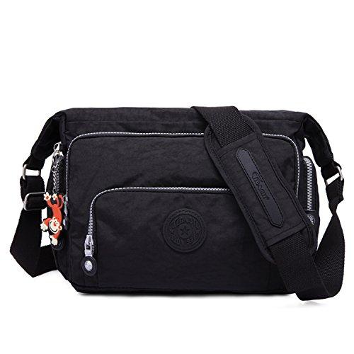 Foino Kuriertasche Damen Umhängetasche Lässige Schultertasche Mode Sporttasche Design Reisetasche Leicht Taschen Büchertasche Seitentasche für Mädchen Vintage Messenger Bag