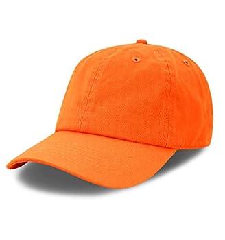 The Hat Depot 300N Washed Cotton Low Profile Baseball Cap  Orange