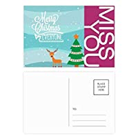 クリスマスツリーのイラスト鹿祭り ポストカードセットサンクスカード郵送側20個ミス