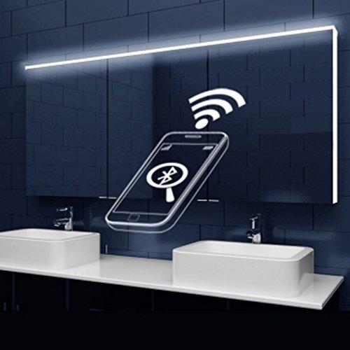 rmi-onlineshop Design Armadio con Specchio con Illuminazione a LED + lichtleitenden Strisce Acrilico e Speaker Bluetooth 162x 70x 12cm