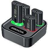 4-Packs Akku für Xbox One/Series X&S Controller, BEBONCOOL 1200mAh Wiederaufladbare Akku mit LED-Anzeige, Akku Ladestation für Xbox Series X/S/Xbox One S/Xbox One X/Xbox One Elite/Xbox One Controller
